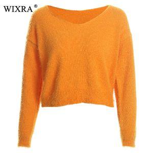 Wixra 2018 Pullover Autunno Inverno Maglione con scollo a V Solidi maglioni a maniche lunghe in maglia Allentato Abbigliamento donna casual
