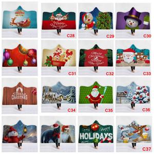 37styles Winter Fleecedecken Throw übergroßen Weihnachten Weihnachtsmann mit Kapuze Sherpa Decke weichen Schneemann Elch Weihnachten Winter Mantel AAA1076