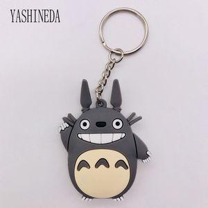1PCS Cartoon Figure Totoro Key Chain 3D Double Side Key Ring Cute PVC Anime Totoro Keychain Kid Toy Holder Trinket Gift
