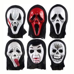 Costume d'Halloween Parti Long Visage Crâne Fantôme Effrayant Cri Masque Visage Capot Horreur Effrayant Terrible Masque avec Capuche