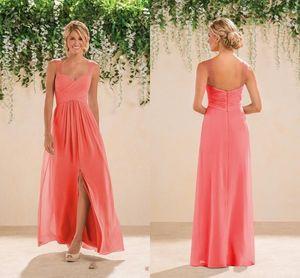2018 Coral Beach Brautjungfern Kleider Chiffon Lange Eine Linie Perlen Spaghetti-Trägern Kristalle Split Prom Kleider Günstige Brautjungfer Kleider