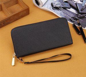 single zipper wallets cheap designer brand women pu leather wallet lady long purse Wrist bag cross pattern casual purse