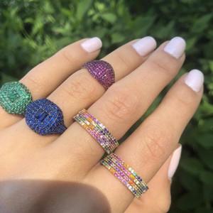 شحن مجاني حساسة الأزياء والمجوهرات متعددة الألوان الأبدية الفرقة rainbow الكامل تشيكوسلوفاكيا الفرقة الخطوبة لون الذهب الدائري