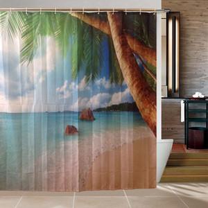 Polyester rideau de douche 3D plage paysage moderne Design rideaux en tissu imperméable pour salle de bains cortinas para banheiro