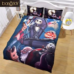 Bonenjoy Ropa de cama de Halloween Niños de Un Solo Tamaño Pesadilla de Dibujos Animados Antes de Juegos de Cama de Navidad Funda de Colcha Funda de Almohada Juegos de Cama