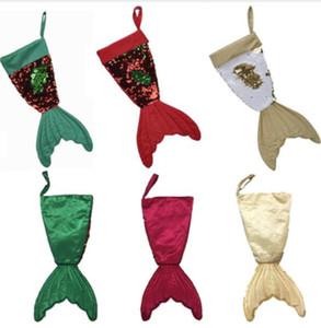 16 Inç 53 CM Noel Çorap Hediye Çanta Tutucular Sequins Mermaid Kuyruk Çocuklar Şeker Çanta Dekorasyon Noel Ağacı Süsler