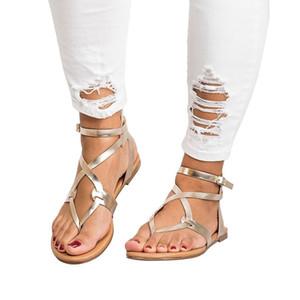 New Knitting Filp Flops Rome Flat Sandals Sandali da donna di grandi dimensioni 2018 Vendita calda all'ingrosso europea e popolari