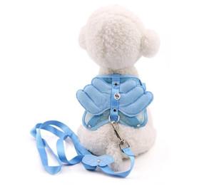 공장 도매 개 의류 귀여운 천사 날개 애완 동물 가슴 스트랩 개 가죽 끈 개 가죽 끈 고양이 체인 토끼 밧줄