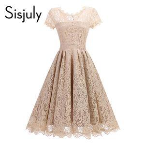 Sisjuly vintage années 1950s robe printemps dentelle a-line femme femme robe de soirée o-cou balck bleu a-ligne robes élégantes vintage femme