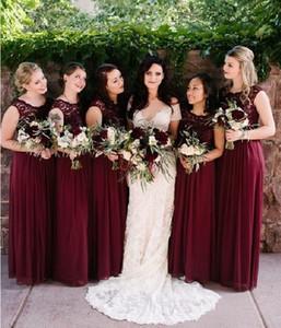 Темно-красный шифон платья невесты для свадьбы кружева линии без рукавов длина пола младший платья для свадьбы гость 2018 на заказ