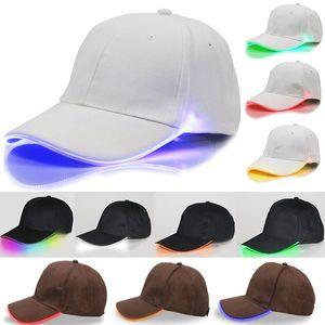 LED 조명 야구 모자 글로우 클럽 야구 힙합 골프 댄스 모자 광섬유 발광 볼 캡 조절 크리스마스 파티 모자 무료 DHL WX-H01