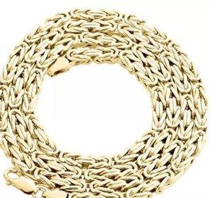 Collar para hombre con cadena de eslabones bizantinos de 14K de oro amarillo de 14K