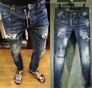 Erkek Sıkıntı Yırtık Sıska Kot Ünlü Marka Tasarımcısı Slim Fit Denim Erkekler Için Tahrip Denim Hip Hop Punk Pantolon 1627