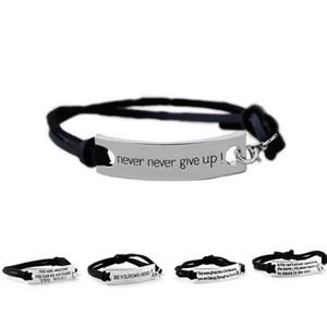 Quote Você é incrível Nunca Nunca desista Pulseira Carta ID Tag Pulseiras de Couro Cuffs Mulheres Bracelet Jóias Inspiradas