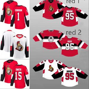 Ottawa Senators Jersey 1 Mike Condon 5 Cody Ceci 15 Zack Smith 29 Matthew O'Connor 32 Chris Driedger Custom Hockey Jerseys Rojo Blanco