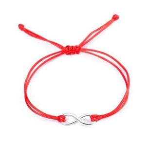 20pcs / lot chinesischer Knoten-Schnur-Unendlichkeitssymbol glückliche rote Schnur-justierbares Armband DIY