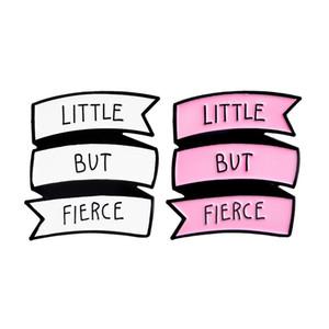 LITTLE BUT FIERCE Letter Brooches Pins Enamel Badge for Women Mens Jacket Shirt Lapel Pins Wholesale Broche