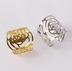 PVD Plated Cutout Silver Rose Napkin Rings Gold Rose Napkin Rings for Hotel Banquet Wedding Decoration SN764