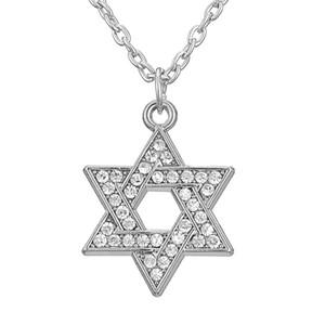 Gioielli ebrei Stella di David Hexagon Judaica Argento placcato cristallo chiaro pavimentato Israele ciondoli collane