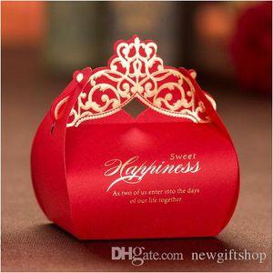 Роскошные свадьбы польза коробка 2017 года Laser Cut золото Красных коробки конфет Сладкие Gift Box Party Event товары