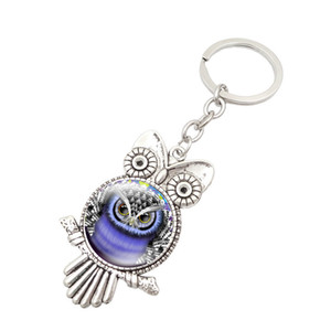 Coruja de vidro cabochão chaveiro encantos Forma Keychain Coruja Keychain acessórios trava saco de jóias de moda Moda 340070