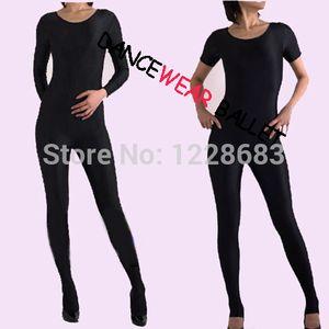 Noir Femmes Filles Adulte Fitness Body Shiny Lycra Spandex Full Body Manches Longues Et Courtes Unitard Ballet Gymnastique Justaucorps