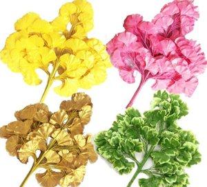 12 unids / lote oro amarillo Ginkgo Biloba Hoja Cinco Ramas de Maidenhair Árboles Hojas Artificial Árbol de Seda Branch Stem Wedding Garden Decoration