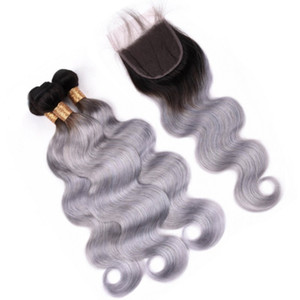Body Wave 1B Grey Ombre Brazilian Virgin Human Hair Bundles with Closure Ombre Silver Grey Hair Weaves Wefts with 4x4 Lace Front Closure