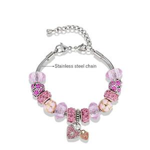 18 + 5CM Hotsale Nouveau Charme Bracelets Cristal Perles Bracelets amour coeur Pendentif Bracelet peut être ajuster Saint Valentin Cadeau Bricolage Bijoux De Mode