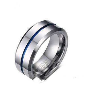 2018 mode mince ligne bleue bague de tungstène de mariage 8MM carbure de tungstène anneaux en acier inoxydable pour les bijoux des hommes