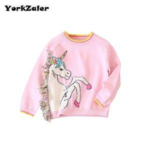 YorkZaler Girls Sweater Pullover 2017 El más nuevo otoño Knitting Unicorn Sweater Tops con borla Girls Crochet Knitted Blusa
