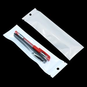 Kaş kalem Kalem Kulaklık Depolama Plastik Poşet Kilitli Torba Paketi Kılıfı asın Hole için 100Pcs / Lot 6x22cm Beyaz Şeffaf Öz Mühürlenebilir Fermuar