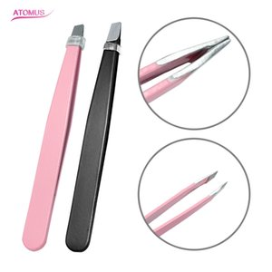 Lady Eyelash Inoculation O Eyebrow Tweezers Depilación Herramienta de maquillaje con clip de ceja de acero inoxidable Beauty Spen Tip, negro y rosa