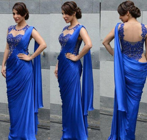 Sexy Royal Blue Arabic Indian Women Evening Dresses Sheath Applique Sheer Wrap Formal Prom Dress Party Gowns Saree