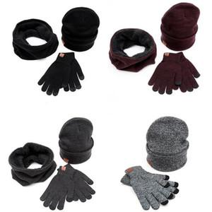 Toptan-Erkek kadın sonbahar kış Avrupa Amerikan popüler Çift sevgilisi Şapkalar Atkılar Eldiven çok örme kazak şapka atkı eldiven ayarlar