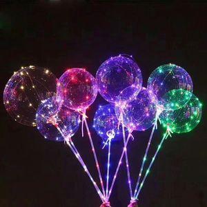 Led Light BOBO Balloon con Stick Palloncini trasparenti Luminous Led Round Bubble Balloon Flashing Wedding Party Decoration DHL gratuito