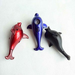 Dolphin Shaped Hand Metal Tobacco Herbal Cigarette Smoking pipe With Screen Smoke Tools Accessories 8cm length Filter Tips 3 colors choose