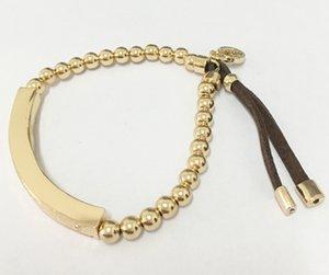 2018 Luxo grande marca pulseira MK Cor Sólida Do Punk contas De Cobre dobrado stretch PU pulseira pode ser esticado pulseira para Homens e Mulheres