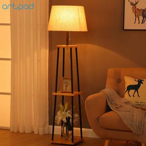 Commercio all'ingrosso di stile americano lampada da terra in legno paralume in tessuto E27 LED luce del pavimento per soggiorno camera da letto studio illuminazione EU / US Plug in