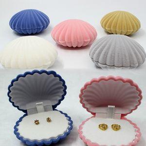 Boîte à bijoux élégante coquille de mer forme flocage anneau boîtes boîtes pendentif médaillon boucles d'oreilles boîtes à bijoux organisateur collier boîtes 5 couleurs