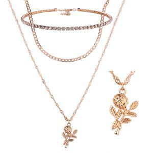 Nouveau ensemble de bijoux en forme de pendentif multicouche collier Instagram Influx mode strass Street Shot chaîne de la clavicule