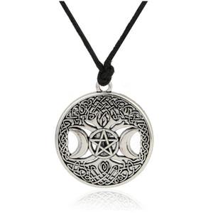Joliment Triple Déesse De La Lune Wicca Pentagramme Amulette Magique Collier Femmes Arbre De Vie Lune Colliers Pendentifs Vintage Bijoux