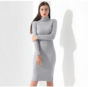 Vestidos Triko Elbise Kadınlar Örme Kış Uzun Kollu Robe Femme Turtleneck Siyah Elbise Sıcak Sonbahar Bayan Giyim Garemay