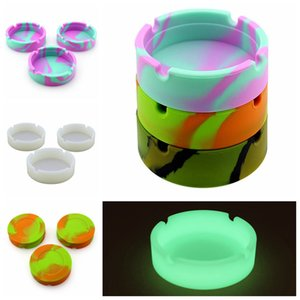 Silicone Round Ashtray Luminous Heat Resistant Portable Durable Camouflage Printed Coloful Fluorescent Soft Ashtray easy cleaning