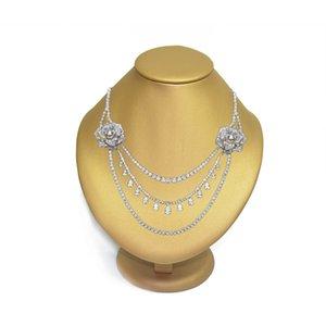 Gorgeous Jewelry Display Bust Gold PU Colgante Horizontal Mannequin Holder Necklace Rack Stand Colgante de madera Vertical Portrait