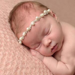 Детские девушки жемчужина горный хрусталь повязки младенческие эластичные белые жемчужные волосы головы ленты дети аксессуары для волос девушки свадебные головные уборы