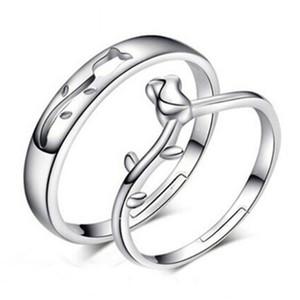 패션 ringS 매력 빈티지 커플 반지 중공 장미 꽃 조절 링 925 스털링 실버 주얼리