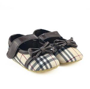 Varejo 1 Par Sapatos de Bebê Bonito Bowknot Xadrez Recém-Nascido Meninas Canvas Primeiro Walker Sapatos Infantis Sapatos Prewalker 0-1 T