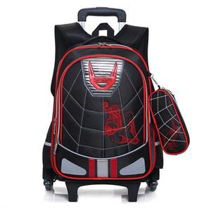 Impermeáveis wheeles Meninos sacos de escola 2017 removível Trolley Mochila Escolar Crianças grande capacidade de sacos de viagem bagagem do saco