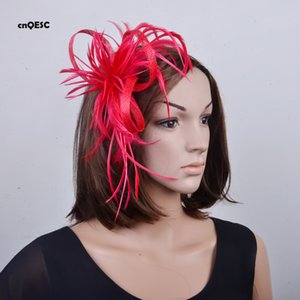 Red Simple Small Feather fascinator sinamay loop for Kentucky derby.